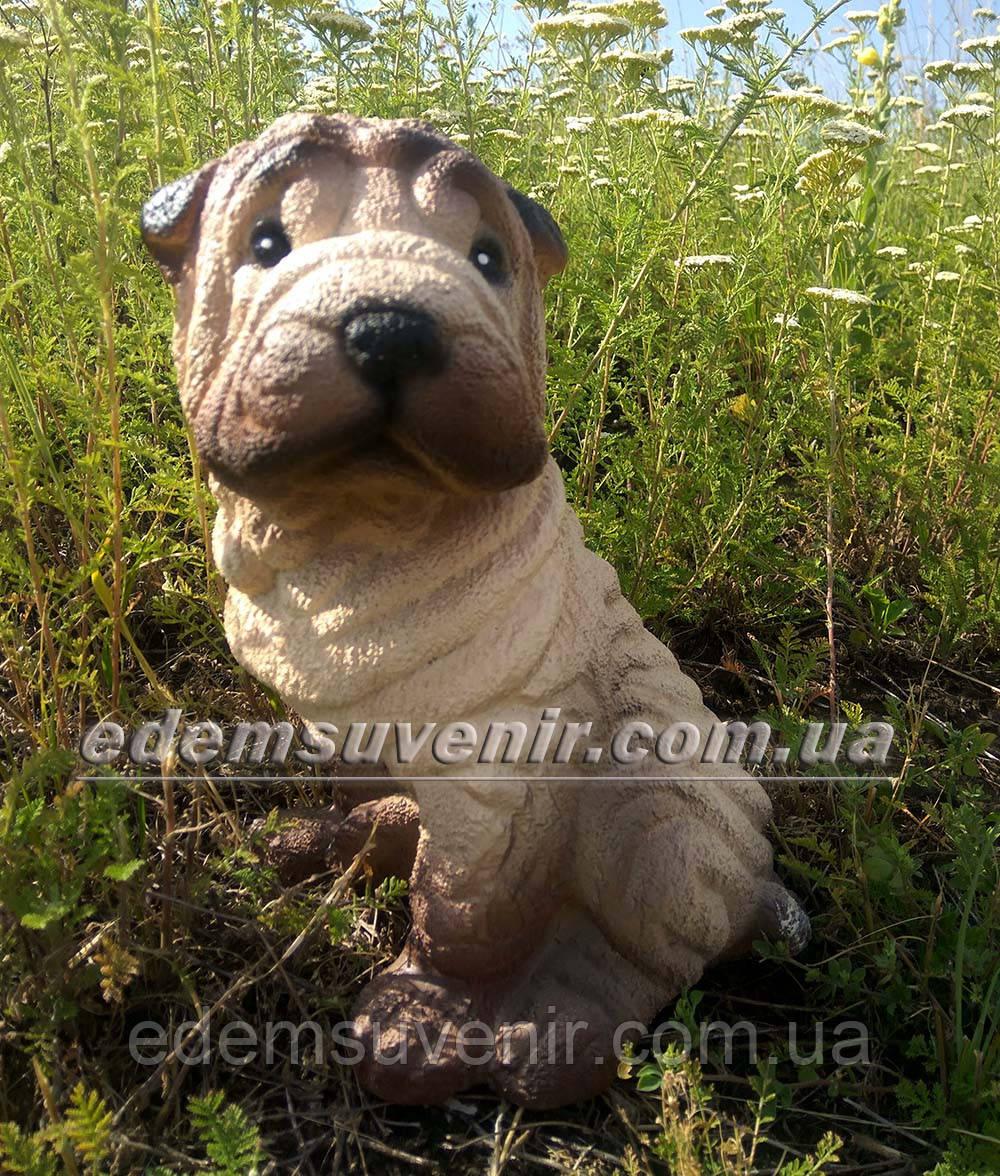 Садовая фигура собака Шарпей сидячий