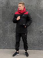 Зимняя черно-красная мужская спортивная куртка Nike (Барсетка в подарок при заказе комплекта!), фото 1