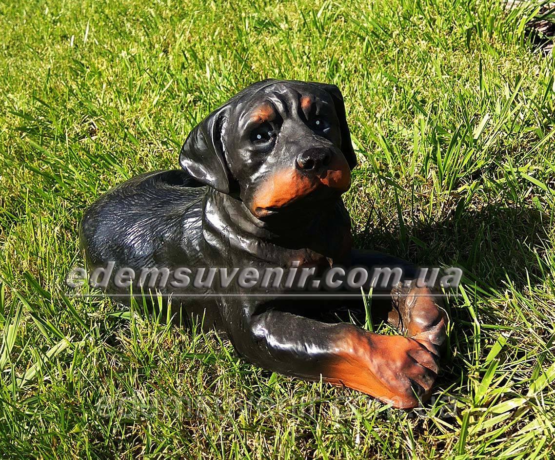 Садовая фигура собака щенок Ротвейлера