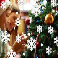 """Виниловые наклейки на окна """"Снежинки"""" - размер стикера 26*20см, (в наборе 14 снежинок и 28 снежка)"""