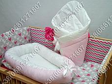 Детский кокон позиционер для новорожденных, розовые расцветки, фото 3