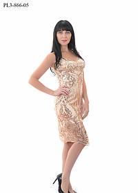 Женское приталенное платье для праздника / размер 42,44,46,48 / цвет бежевый
