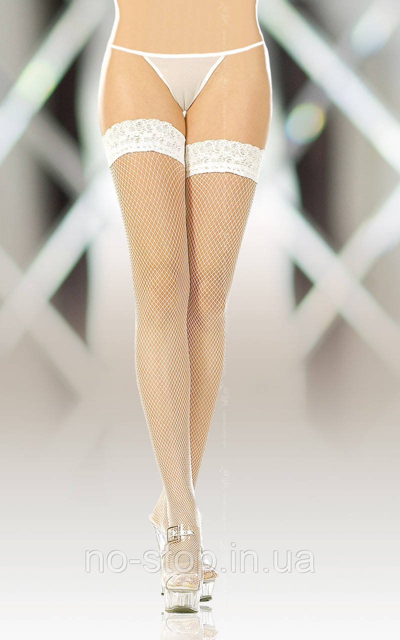 Чулки - Stockings 5517, Plus Size, white