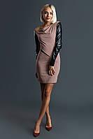 """Облегающее комбинированное мини-платье """"Kris"""" с кожаными вставками (2 цвета)"""