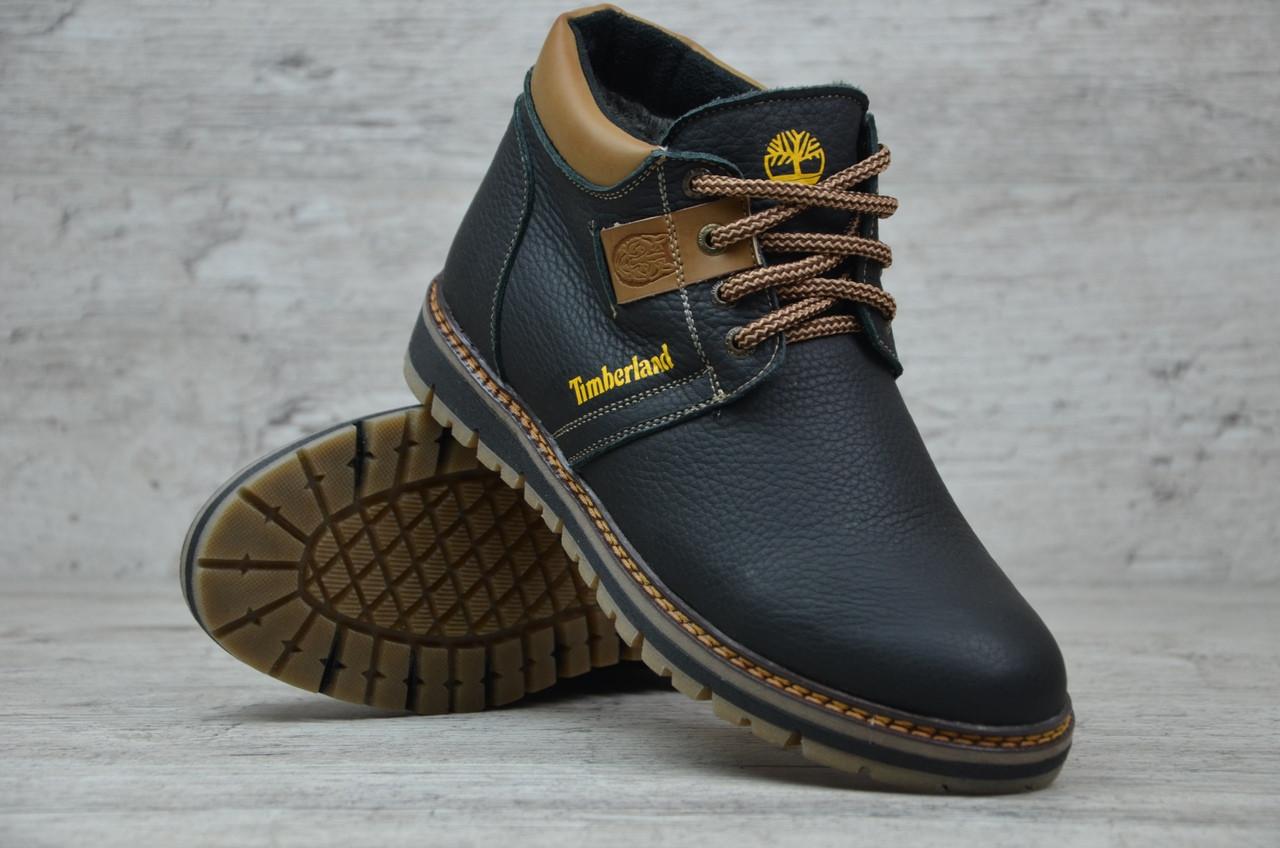 Мужские кожаные ботинки на меху Timberland черные топ реплика