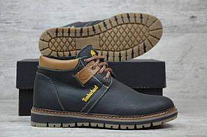 Мужские кожаные ботинки на меху Timberland черные топ реплика, фото 2