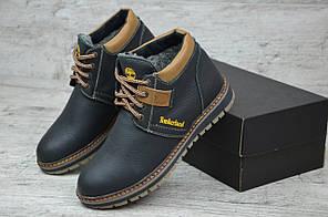 Мужские кожаные ботинки на меху Timberland черные топ реплика, фото 3