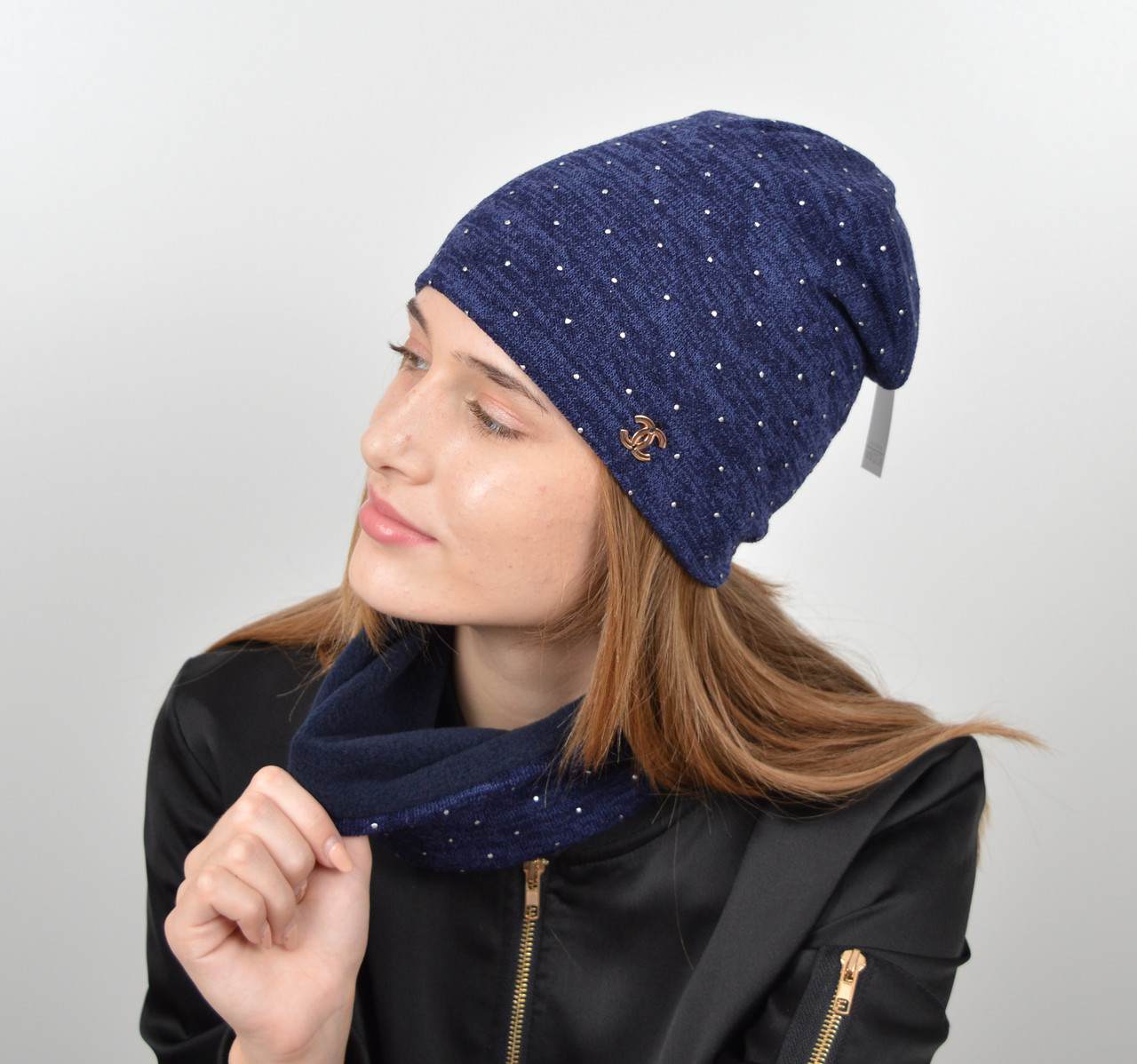 "Комплект ""Точки"" хомут-шапка. Синий"