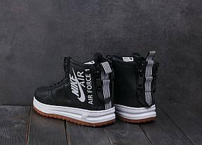 Мужские зимние кроссовки Nike Aiir Force черные с белой подошвой топ реплика, фото 3