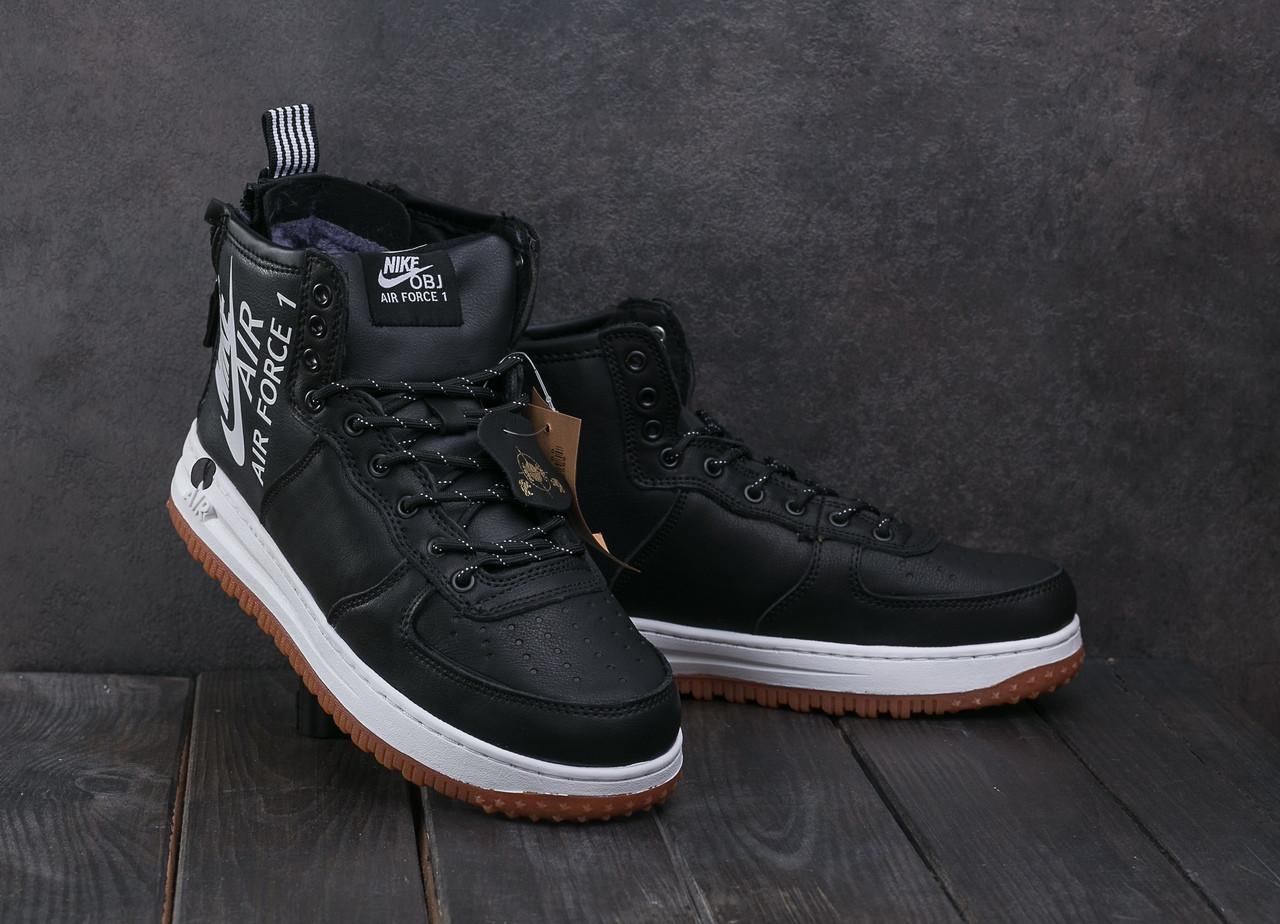 Мужские зимние кроссовки Nike Aiir Force черные с белой подошвой топ реплика