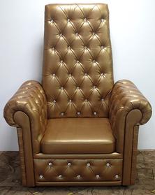 Кресло педикюрное Трон Ice Queen на четыре пуговицы, кожзаменитель Rainbow Bronza (Velmi TM)
