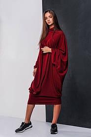Ассиметричное женское ангоровое платье Гнилая вишня (2 цвета). Р-ры: 42-56. (111)08335.