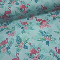 """Постельное белье из польского хлопка """"Фламинго малиновые в цветах на бирюзовом"""""""