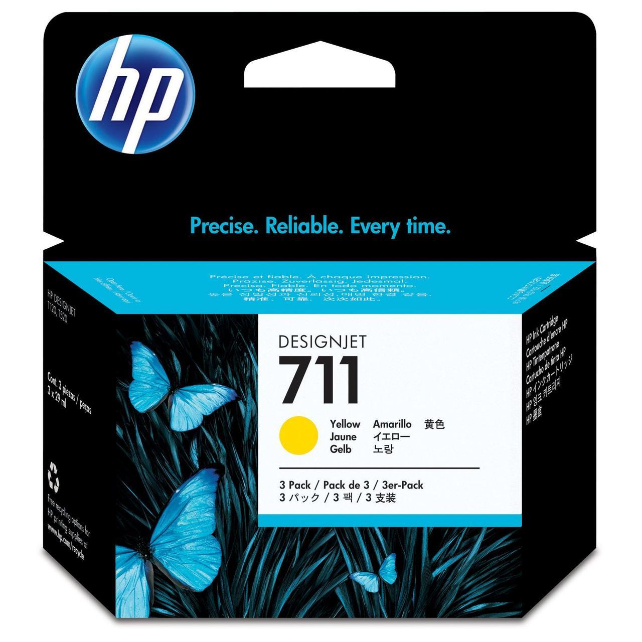 Картридж HP 711 для DJ 120/520 Yellow, 3-Pack (CZ136A)