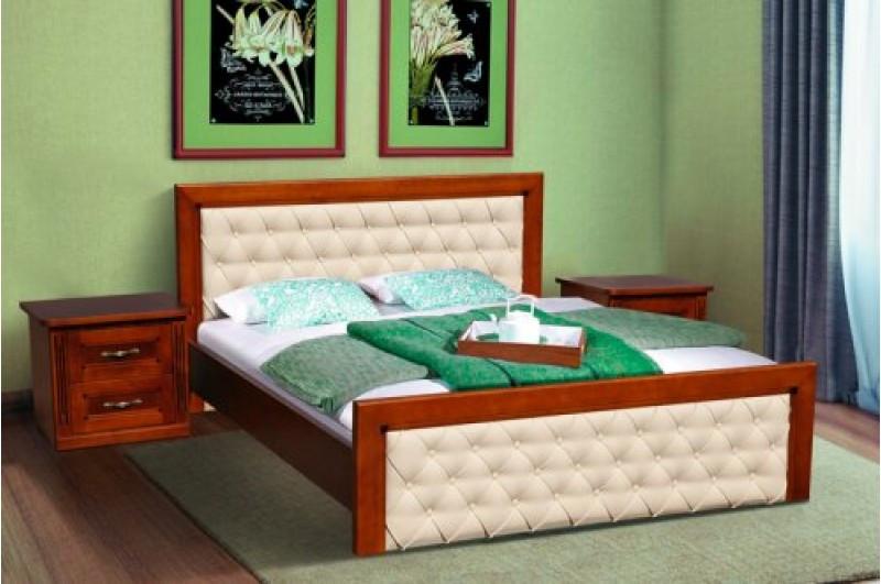 Кровать деревянная + кожзам- FREEDOM (орех)