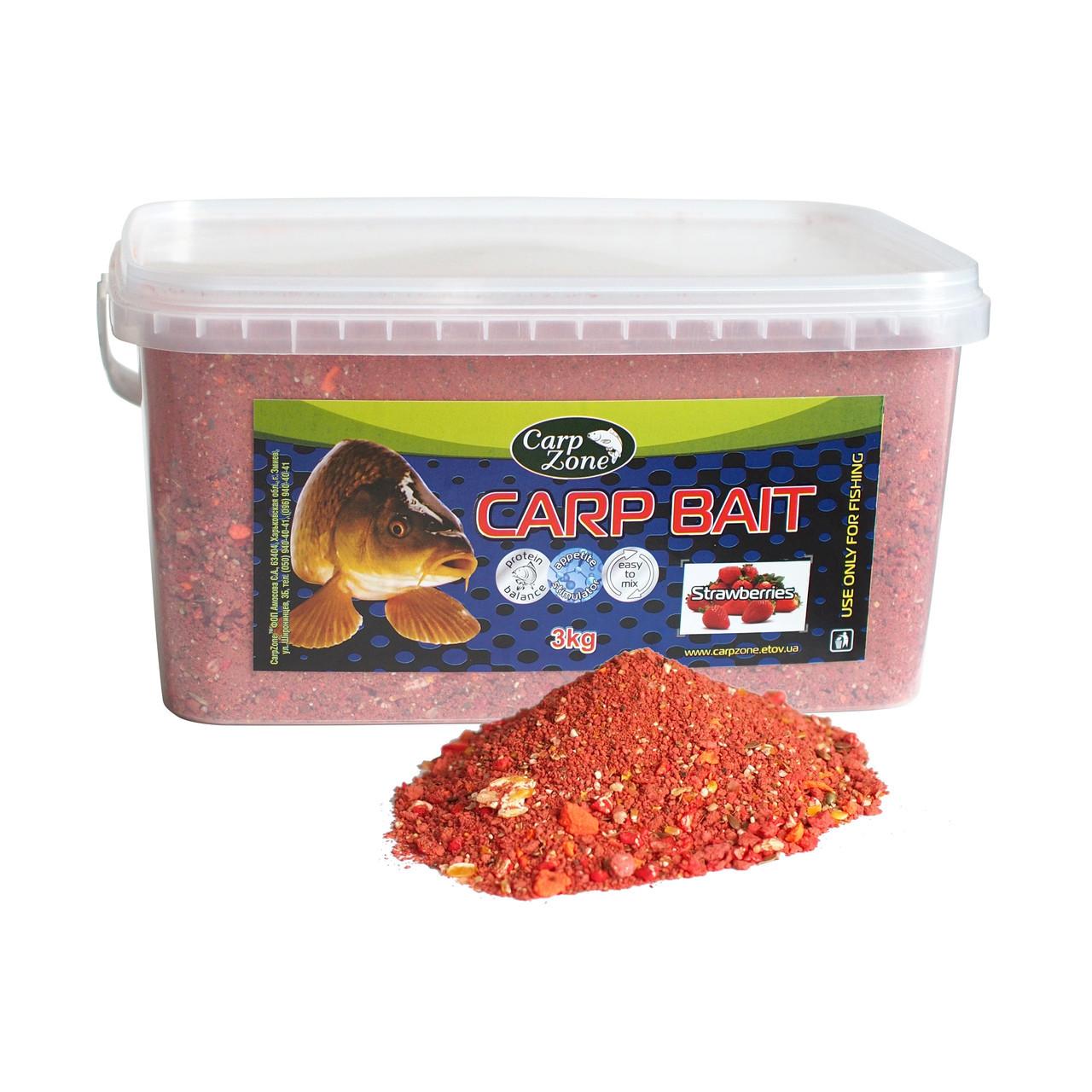 Прикормка Carp Bait Strawberries (Клубника) 3 кг