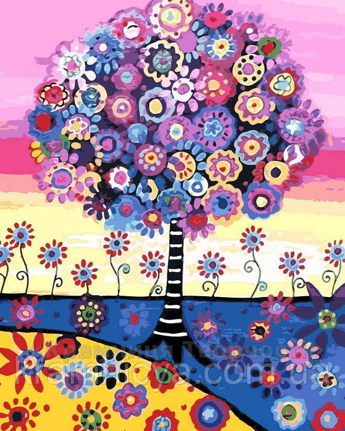 Картина по номерам 40x50, Красочное дерево