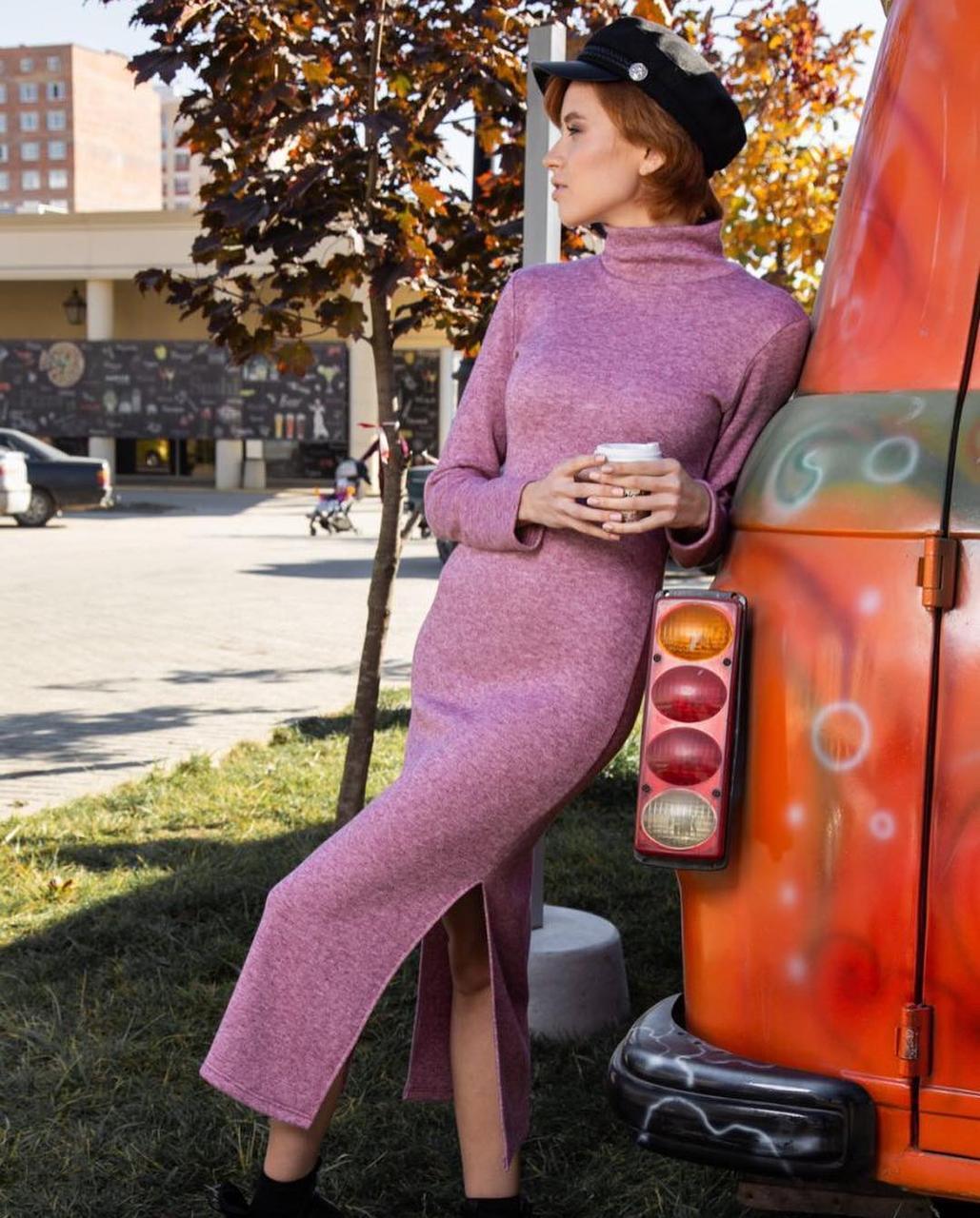 Женское теплое платье гольф с кашемира ниже колена 42,44,46,48