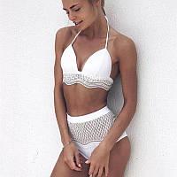 Женский купальник раздельный стильный с высокой талией белый с рюшами опт