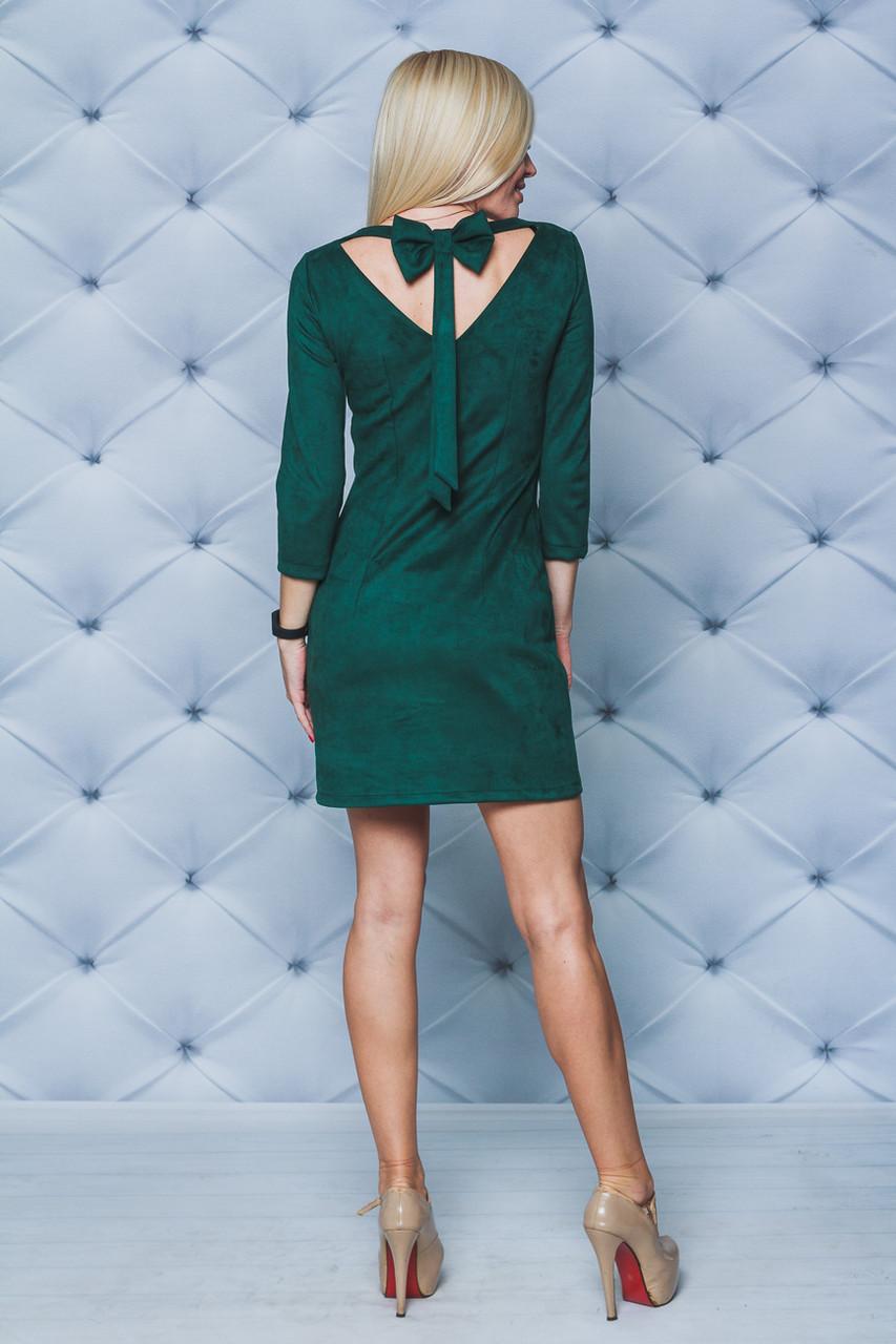 Замшевое платье с бантом зеленое