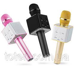 Микрофон-караоке Q7 аккумулятор 25 см, USB, Bluetooth, микс цветов, в футляре Т