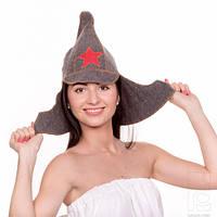Банная шапка Буденовка со звездой, натуральный войлок