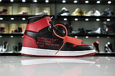 "Кроссовки Nike Air Jordan 1 Retro Off-White ""Black/Red"" (Черные/Красные), фото 2"