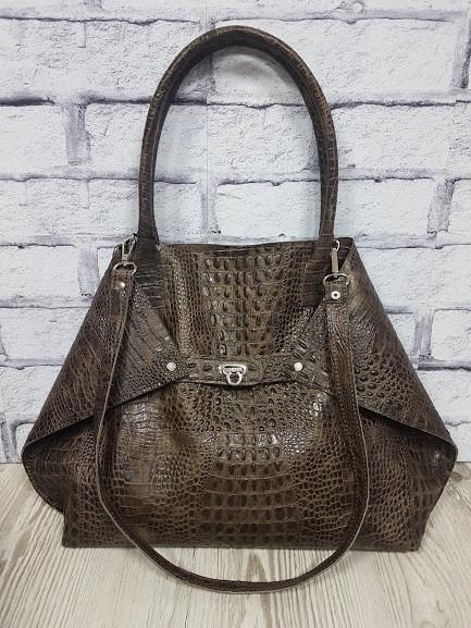 """Женская сумка """"Флай"""" натуральная кожа, тиснение под крокодила"""