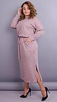 Леся. Оригинальное платье для дам size plus.66-68р. Пудра,бордо