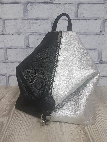 """Рюкзак жіночий """"Паріс"""" натуральна шкіра, срібний і чорний флотар"""