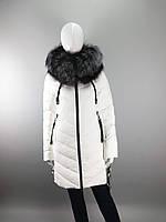 Пуховик женский ТМ Jarius с мехом чернобурки на капюшоне, белый