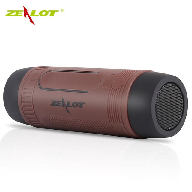 Колонка Zealot S1 портативная Bluetooth повербанк, фонарик (коричневая)