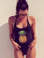 Сдельный женский купальник черный с рисунком ананасом, фото 1