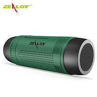 Колонка Zealot S1 портативная Bluetooth повербанк, фонарик (зеленая), фото 1
