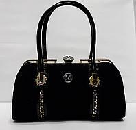 Стильная женская лако-замшевая сумка-Ридикюль DOVILI MILANO с рамочным замком