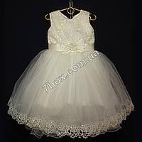 Нарядное детское платье Ариэль (молочное) 3-4года, фото 1