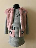 Платье, костюм, с меховой жилеткой на девочку,нарядный, фото 1