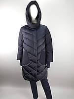 Пальто женское батал темно-синее до колена с накладными карманами и капюшоном ТМ SHIO