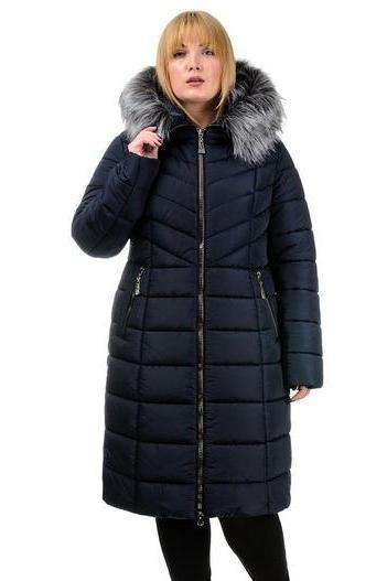 Зимнее пальто с искусственным мехом, большие размеры