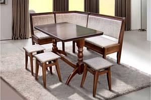 Комплект Кухонный семейный, деревянный со столом и 3-мя табуретами. Обивка тканевая.