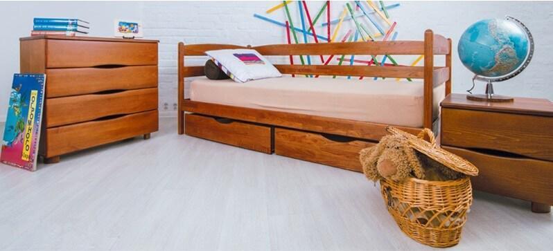 Кровать ЕВА с ящиками 90х200 светлый орех