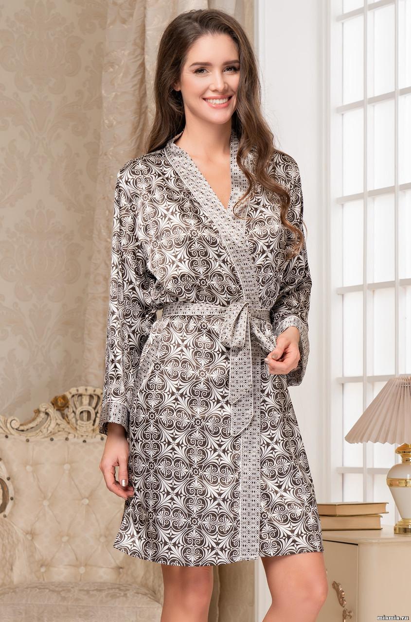 Женственный халат из искусственного шелка. Италия Mia-Mia Патриция 8413