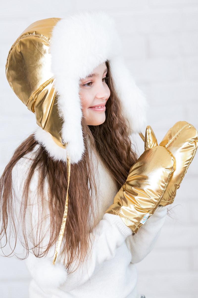 Меховая шапка для подростка девочки Pobeda 46–58р. в расцветках