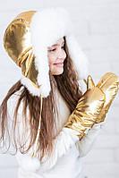Меховая шапка для подростка девочки Pobeda 46–58р. в расцветках, фото 1