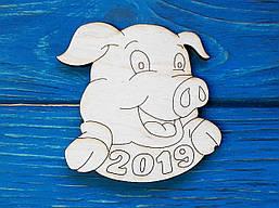 Магнит на холодильник. Год свиньи 2019. Символ года. Деревянный магнит