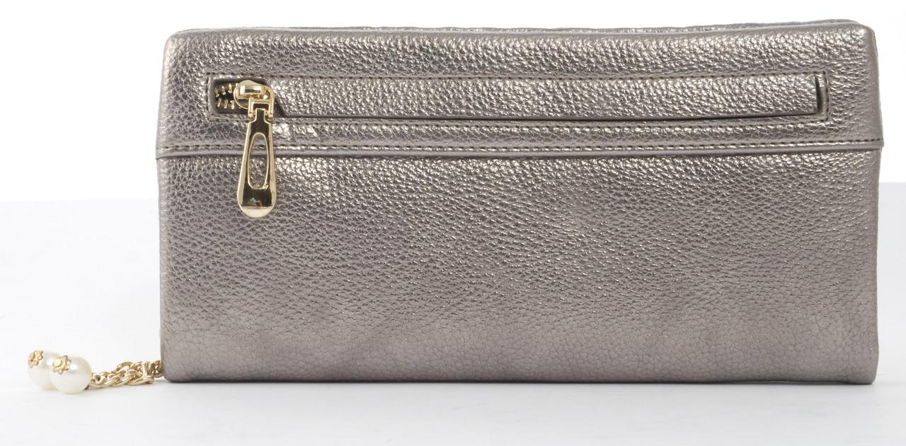 Оригинальныйпрочный удобный женский кошелек барсетка высокого качества Fuerdanni art. J-2506 серебро