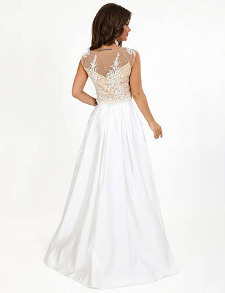 Свадебное-вечернее платье макси с двух частей топ и юбка без рукав гипюр и атлас цвета шампань, фото 2