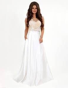 Свадебное-вечернее платье макси с двух частей топ и юбка без рукав гипюр и атлас цвета шампань