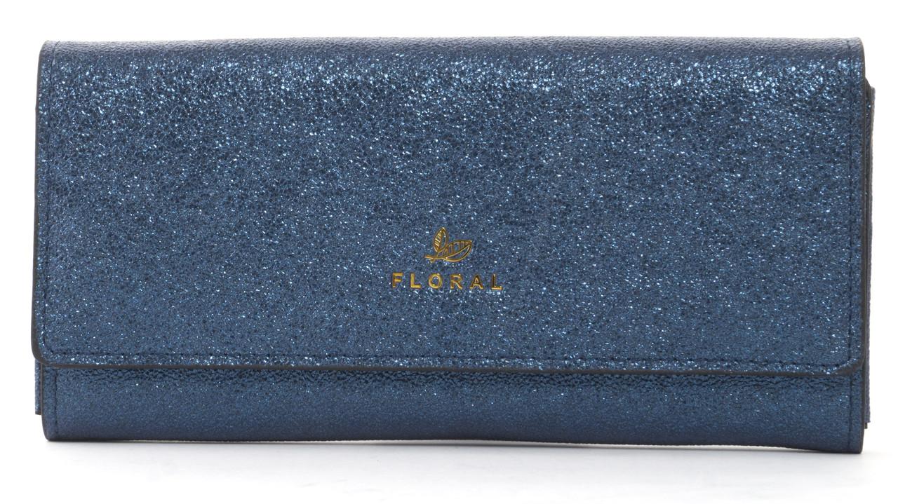 Стильныйженский прочный кошелек из эко кожи с красивым блескомFuerdanni art. J1816 синий