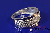 Женское серебряное кольцо дорожка с золотыми напайками